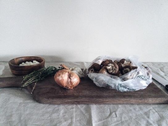 mushroom galette prep